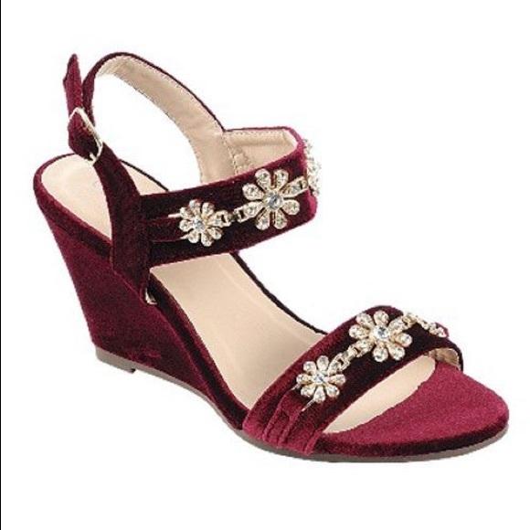 Shoes Burgundy Velvet Wedge Sandal Poshmark